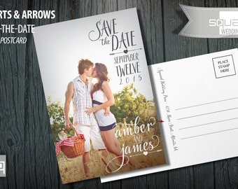 Save the Date Photo Calendar Postcard - Bespoke Post Cards - Save-the-Date - Photo Postcards - HEARTS & ARROWS style - Bespoke Engagement