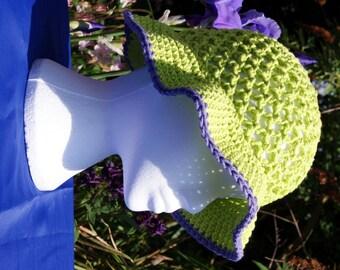 """Crochet summer hat, women's cotton sun hat in """"Hot Green"""". Floppy sun hat with brim. Crochet hat. Cotton hat. Summer hat. Beach hat"""