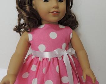 18 Inch Doll Dress - Fit American Girl Doll - Pink Polka Dots Dress