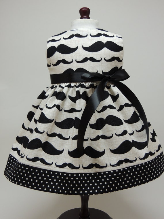 American Girl Doll Clothes -Handmade - Mustache Print Dress