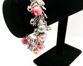 Glass Pearl and Aged Silver Butterfly Charm Bracelet