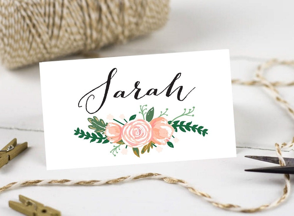 Personalised printable wedding place cardsname cards for Design table name cards