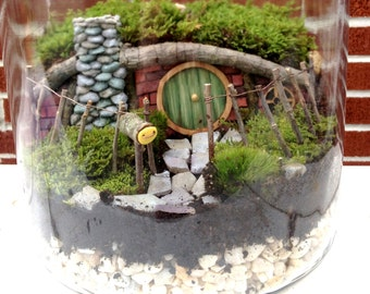 Hobbit House Fairy Garden or Terrarium Set - Handmade