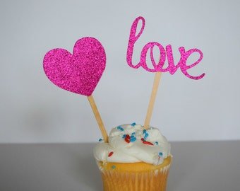 Bridal Shower Cupcake Toppers, Glitter Heart Cupcake Toppers, Set of 12