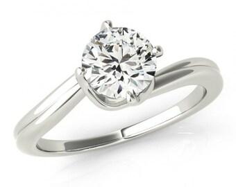 1 carat Forever Brilliant Moissanite Engagement Ring - Solitaire Engagement  Ring 14k, 18k, Platinum - White Gold Engagement Rings For Women
