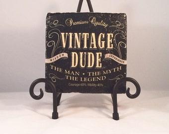 Vintage Dude Coaster Set ( Set includes 4 Tiles )