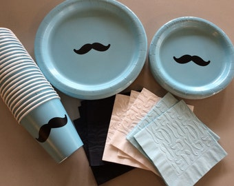 Mustache Party Plates - Stache Bash - Moustache Theme Birthday - Bachelor Party - Little Man Baby Shower - Coffee Cups - Mustache Plates Cup