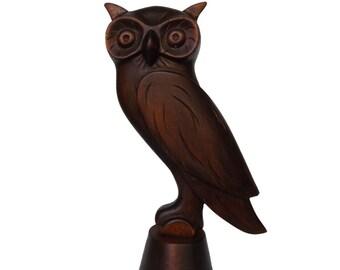 "Handcarved wood sculpture ""Owl"" - boho home decor - wood art"