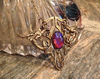 Wyvern - Fantasy Inspired Dragon's Breath Opal Pendant Jewelry Entrapment Series