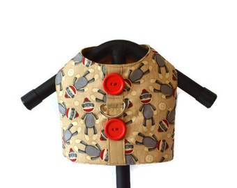 MONKEY BUSINESS Dog Cat Harness Vest, Dog Vest, Pet Apparel, Dog Clothes, Custom Pet Clothes, Dog Harness, Vest, Sock Monkey Tan Red Vest