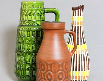 Vintage Mid Century Handled Vase by SAWA 348/20 West German Pottery WGP Modernist Vase Retro