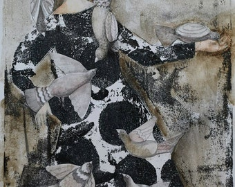 Paloma, Monotype Print, Original Art, Doves, Pigeons, Monoprint