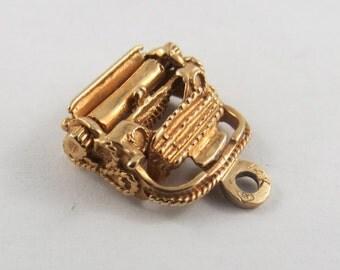 Typewriter 14K Gold Vintage Charm For Bracelet