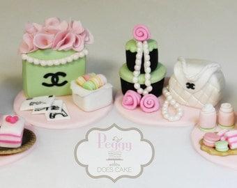 Paris Laduree themed 3D Cupcake Toppers (Set of 4)