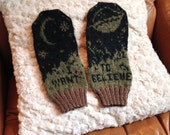 X-Files Knit Mittens: I Want To Believe