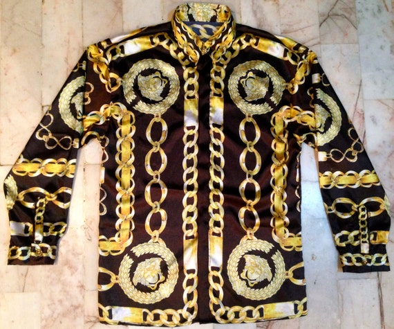 Versace Inspired Silk Shirt Gold Chain By Silkbarrococouture