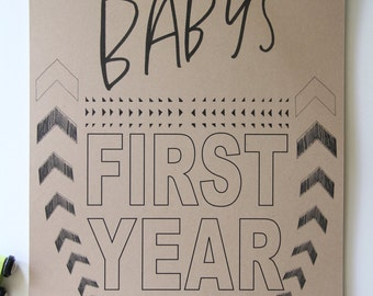 Baby's First Year Calendar- KRAFT
