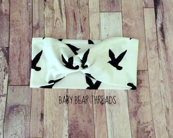 White and Black Birds - Turban Head Wrap - Baby Headband - Jersey Knit