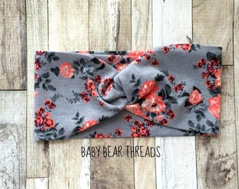 Coral Floral - Turban Head Wrap - Baby Headband - Jersey Knit
