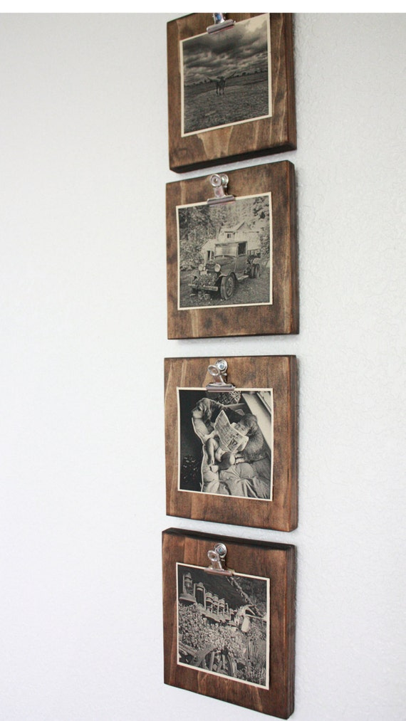 Set of four 4 rustic wall clip frame picture display for Photo clip wall frame