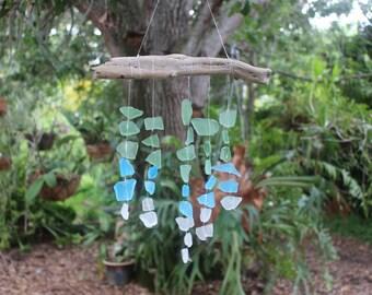 sea glass sun catcher, driftwood wind chime, bohemian decor