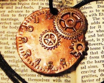 Steampunk Polymer Clay Clock & Gears Necklace