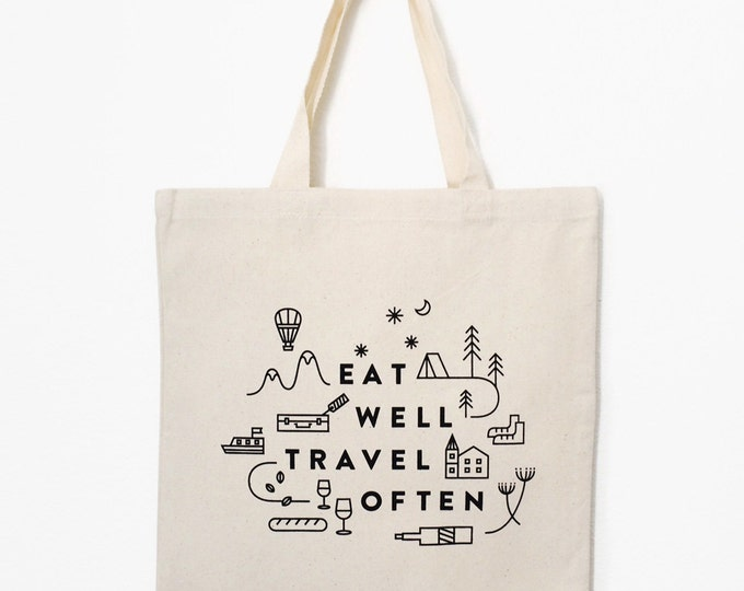 """Eat Well Travel Often Tote Bag (Natural) 