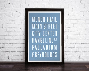 CARMEL, INDIANA Subway Art Print - Customizable