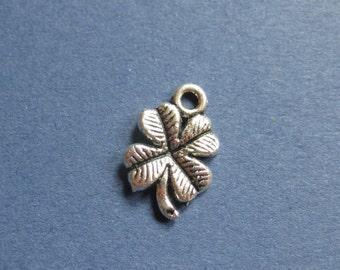 10 Four Leaf Clover Charms - Four Leaf Clover Pendants - Clover Charms - Antique Silver - 11mm x 17mm -- (No.79-10836)