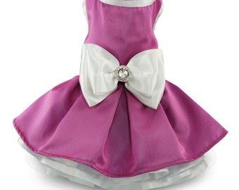 Dark Pink & White Couture Party Dress for Dogs by Bella Poochy TM