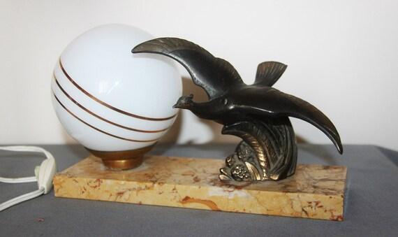 antique lampe poser fran ais art d co boule en par illuminati10. Black Bedroom Furniture Sets. Home Design Ideas