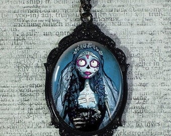 Large Glass Cameo Cabochon Pendant Necklace - Emily The Corpse Bride - Statement Necklace