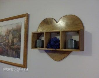 Wall shelf, wall shelves, heart shelf, knick knack shelf, decorative shelf, wall decor, solid Walnut