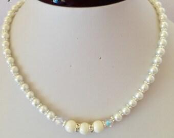 Ivory Pearl Wedding Necklace Bridal Necklace Swarovski Crystal Jewelry Set Ivory Bridesmaid Gift Swarovski Pearl Necklace Beaded Necklace