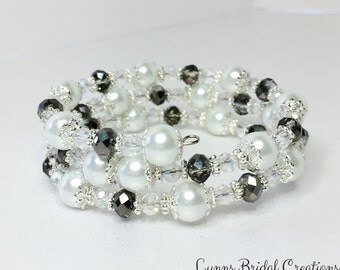 Black Crystal Bracelet White Pearl Jewelry Stacker Bracelet Pretty Bridesmaid Gift Multi Strand Bracelet Mother of the Bride Gift Under 20