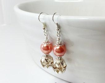 Coral Pearl Earrings Bridesmaid Earrings Crystal Earrings Topaz Crystal Jewelry Wedding Earrings Jewelry Set Peach Earrings Maid of Honour