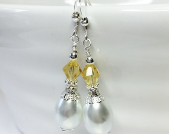 White Pearl Drop Earrings Lemon Crystal Earrings Wedding Jewelry Bridesmaid Gift White Pearl Jewelry Yellow Crystal Jewelry Wedding Earrings