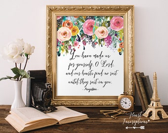 Christian Quote Printable, Saint Augustine, You have made us for yourself..., Christian Wall Art, Digital Printable, Instant download