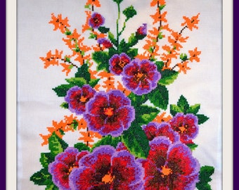 Cross stitched flowers, embroidery, cross stitch picture, wall decoration