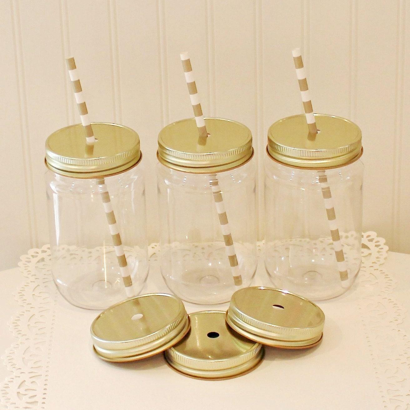 mason jars 6 plastic mason jars with lids wedding favor. Black Bedroom Furniture Sets. Home Design Ideas
