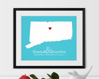 Connecticut Map Art, Connecticut Wedding Gift Connecticut State Map Connecticut Gift - Any STATE