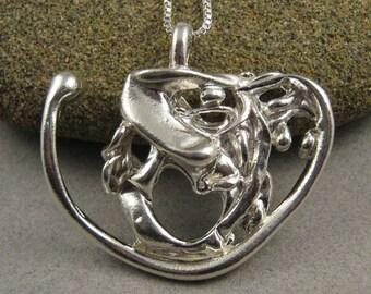 BIG HEART PENDANT stylized sterling silver modern metal gray women men 516PE