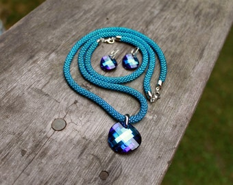 Classic Long Rope Jewelry Sets: Necklace, Earrings And Bracelet, Swarovski Pendant Bermuda Blue, Bead Crochet Necklace,  Christmas gift idea