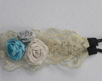 Blue, Grey, and White Flower Lace Headband
