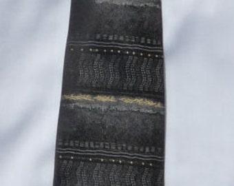 CHRISTIAN DIOR grey black silk tie