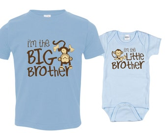 Big brother little brother shirts matching sibling shirts, Monkey I'm the Big Brother, Monkey I'm the Little Brother, MKOSib