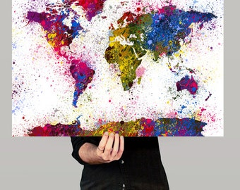 Watercolor World Map Art Print, Splash World Map, Wall Art Watercolor World Map Poster, Large Map Art Painting (40)