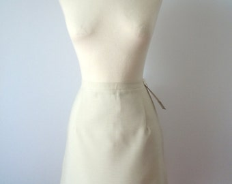 Vintage 60s Pencil Skirt | 60s Pencil Skirt | 60s High Waist Skirt | Cream Pencil Skirt | Skirt M Medium