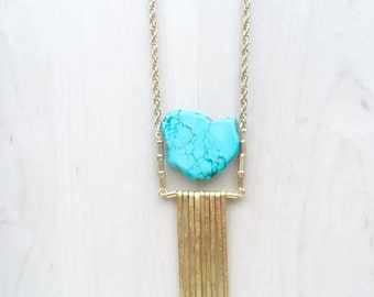Turquoise Slice & Hammered Gold Fringe Pendant Necklace