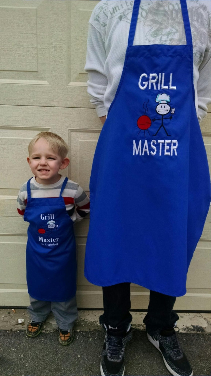 Blue apron junior editor - Father Mother And Son Daughter Matching Bbq Apron Custom Men S Apron Father S Day Gift Grilling Apron Bbq Apron Grill Master
